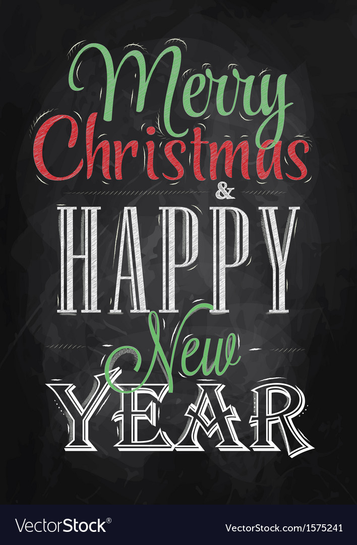 Poster merry christmas happy chalk color vector | Price: 1 Credit (USD $1)