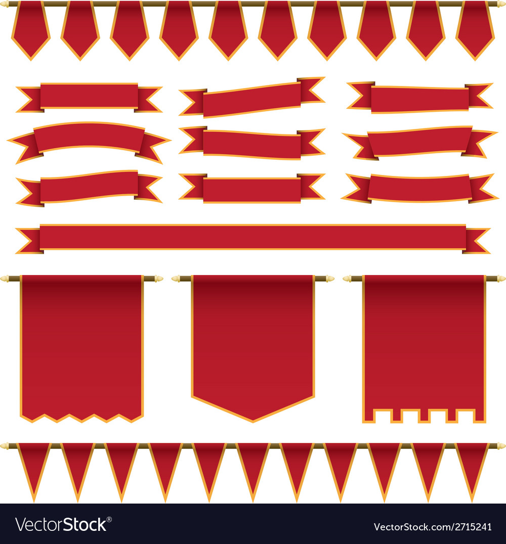 Red ribbons and banners vector | Price: 1 Credit (USD $1)