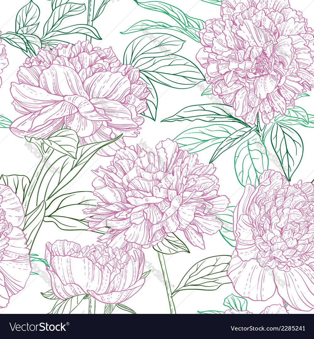 Seamless pattern of pink peonies graphics vector | Price: 1 Credit (USD $1)