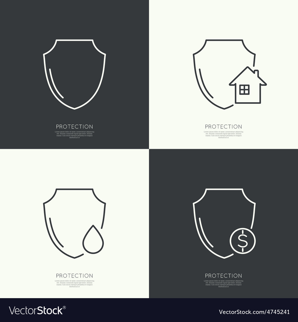 Set icons of protection vector | Price: 1 Credit (USD $1)