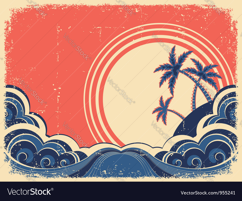 Tropical island with palms grunge seascape poster vector | Price: 1 Credit (USD $1)