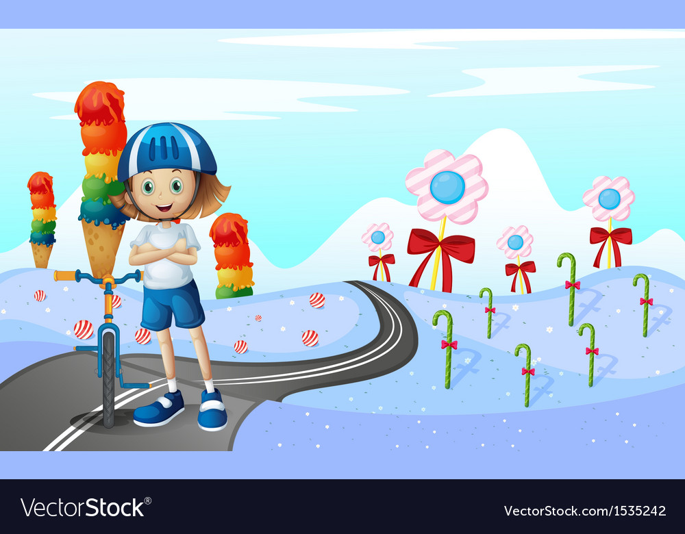 A girl and her bike at the street with sweets vector | Price: 1 Credit (USD $1)