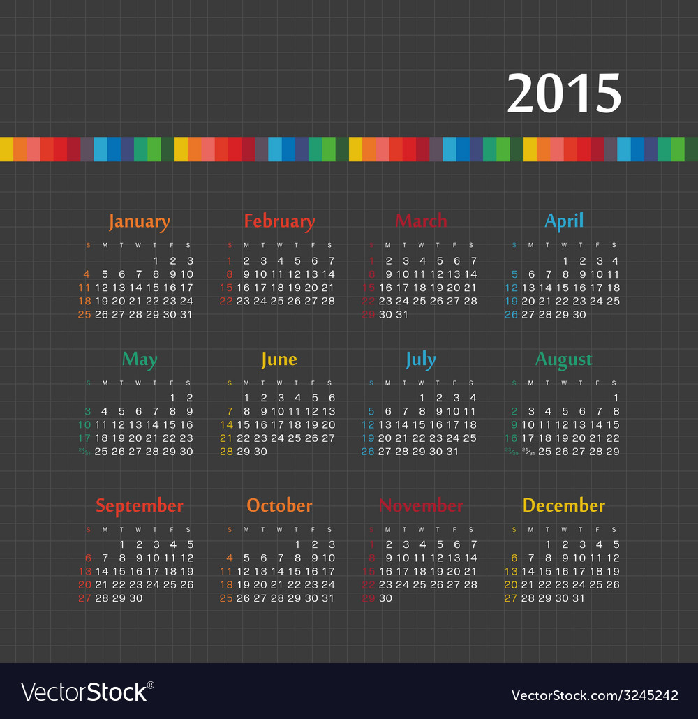 Calendar 2015 year with colored lines vector | Price: 1 Credit (USD $1)