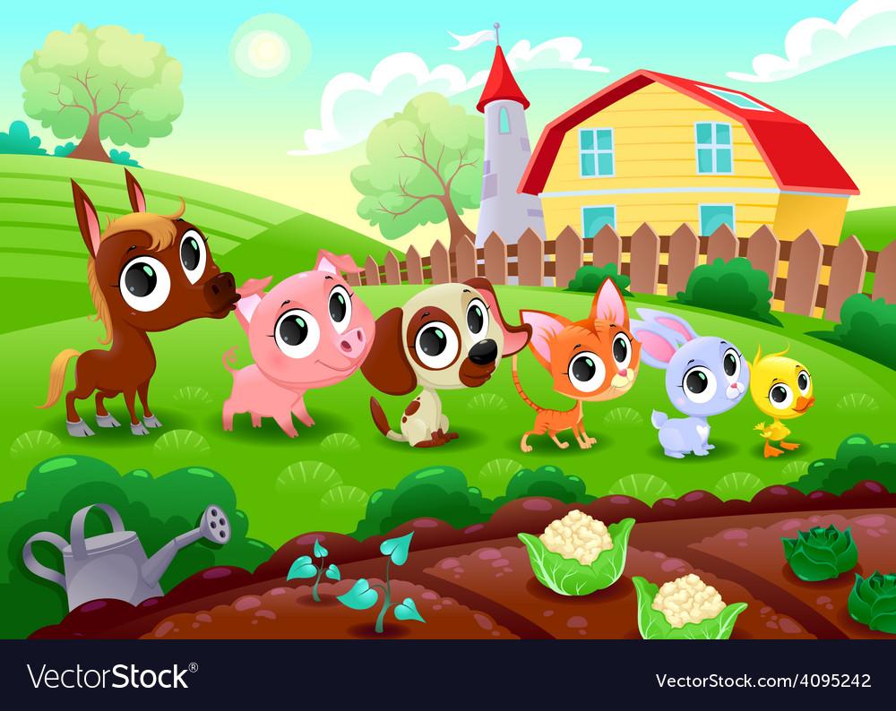 Funny farm animals in the garden vector   Price: 3 Credit (USD $3)