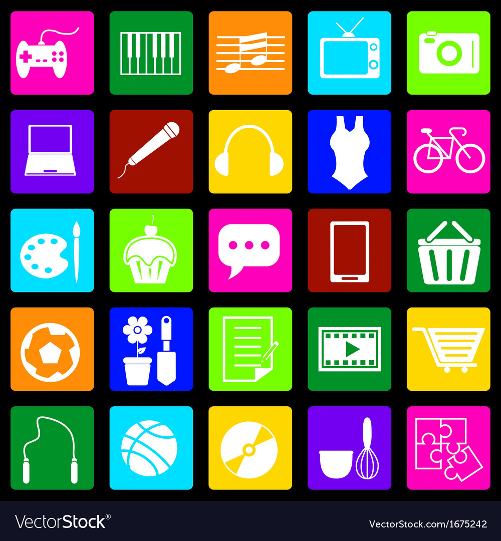 Hobby colorful icons on black background vector | Price: 1 Credit (USD $1)