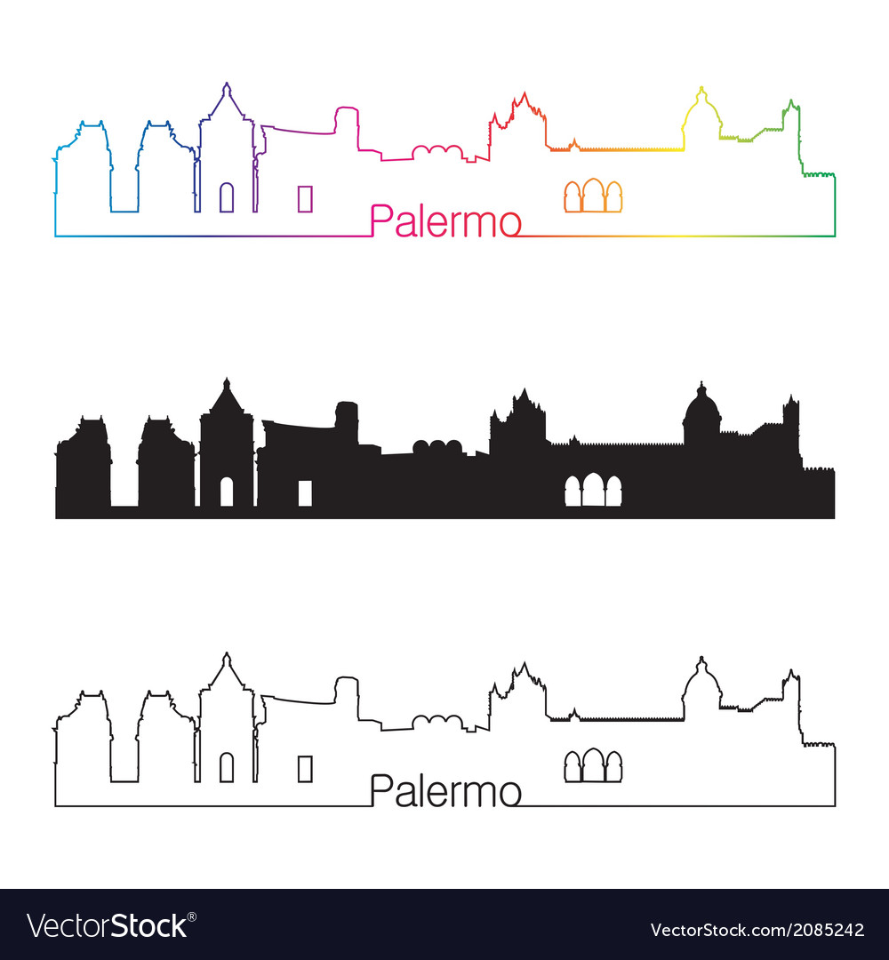 Palermo skyline linear style with rainbow vector | Price: 1 Credit (USD $1)
