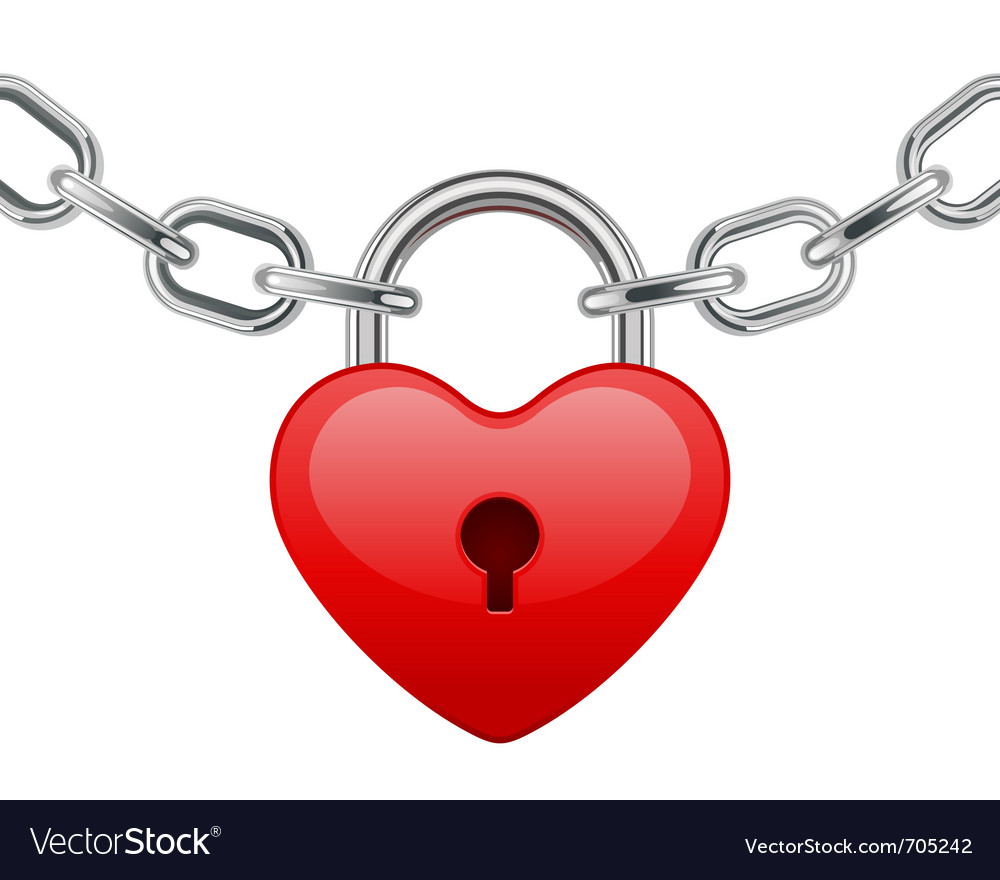 Red shiny heart lock shape on chain vector | Price: 1 Credit (USD $1)