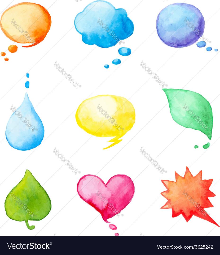 Set of watercolor design elements vector | Price: 1 Credit (USD $1)