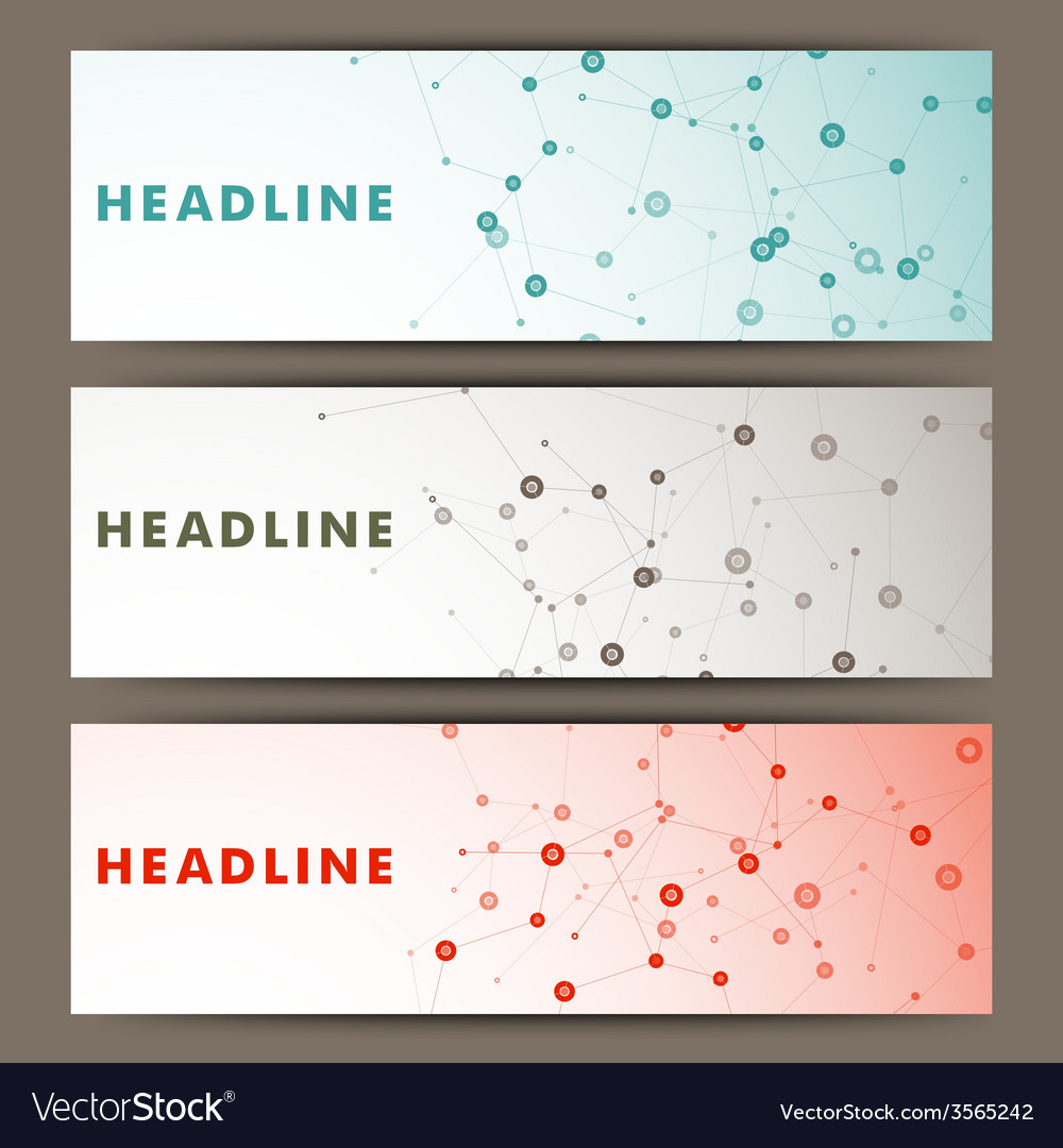 Three banner with a molecular structure vector | Price: 1 Credit (USD $1)
