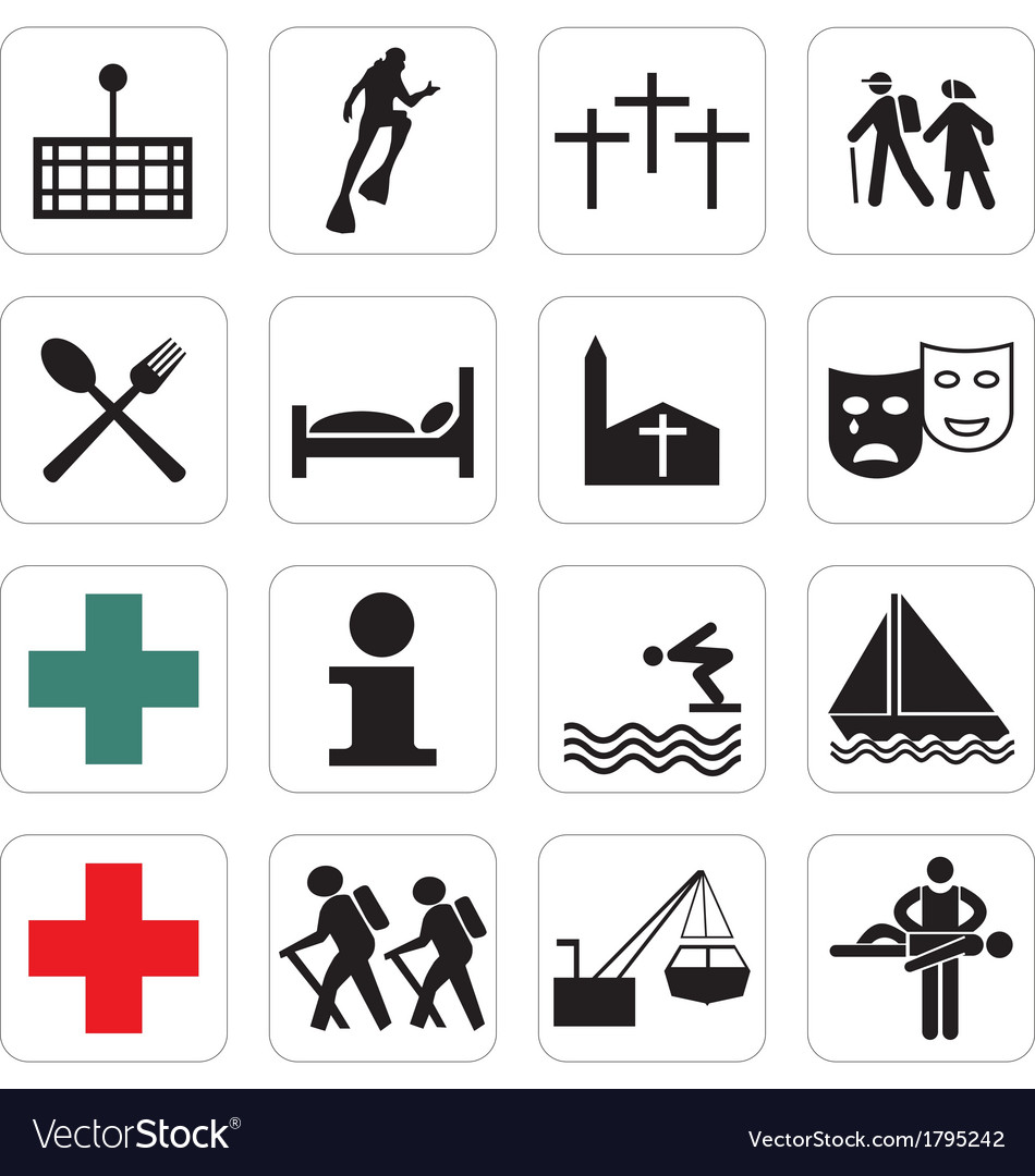 Tourist locations icon set vector | Price: 1 Credit (USD $1)