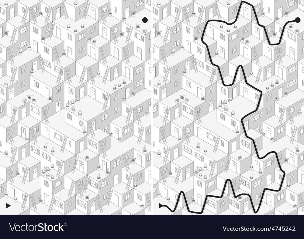 Village maze vector | Price: 1 Credit (USD $1)