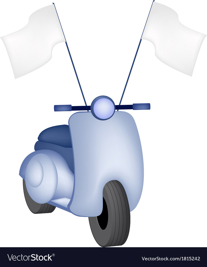 Vintage scooter with blank flag vector | Price: 1 Credit (USD $1)