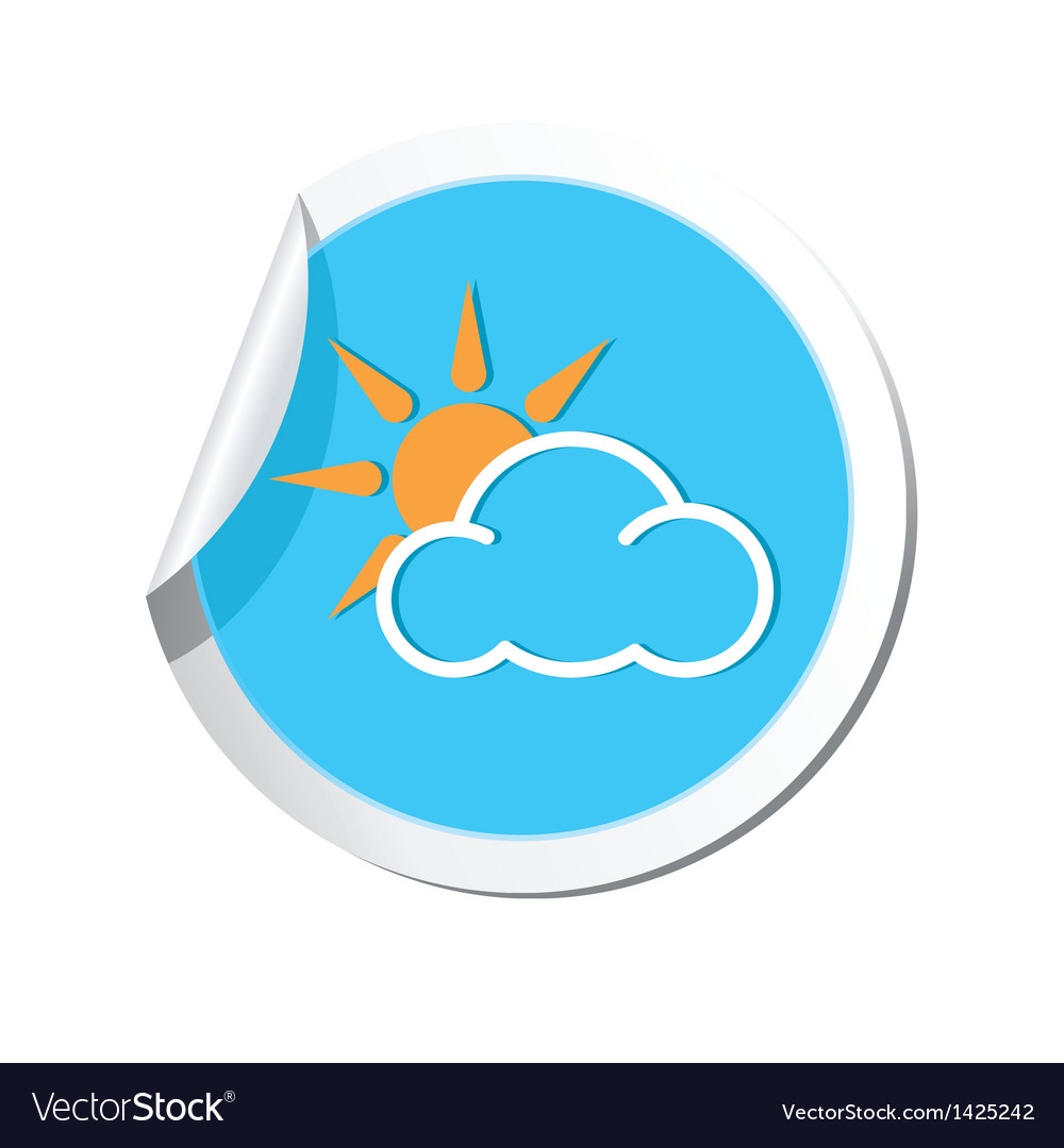Weather forecast clouds with sun icon vector | Price: 1 Credit (USD $1)