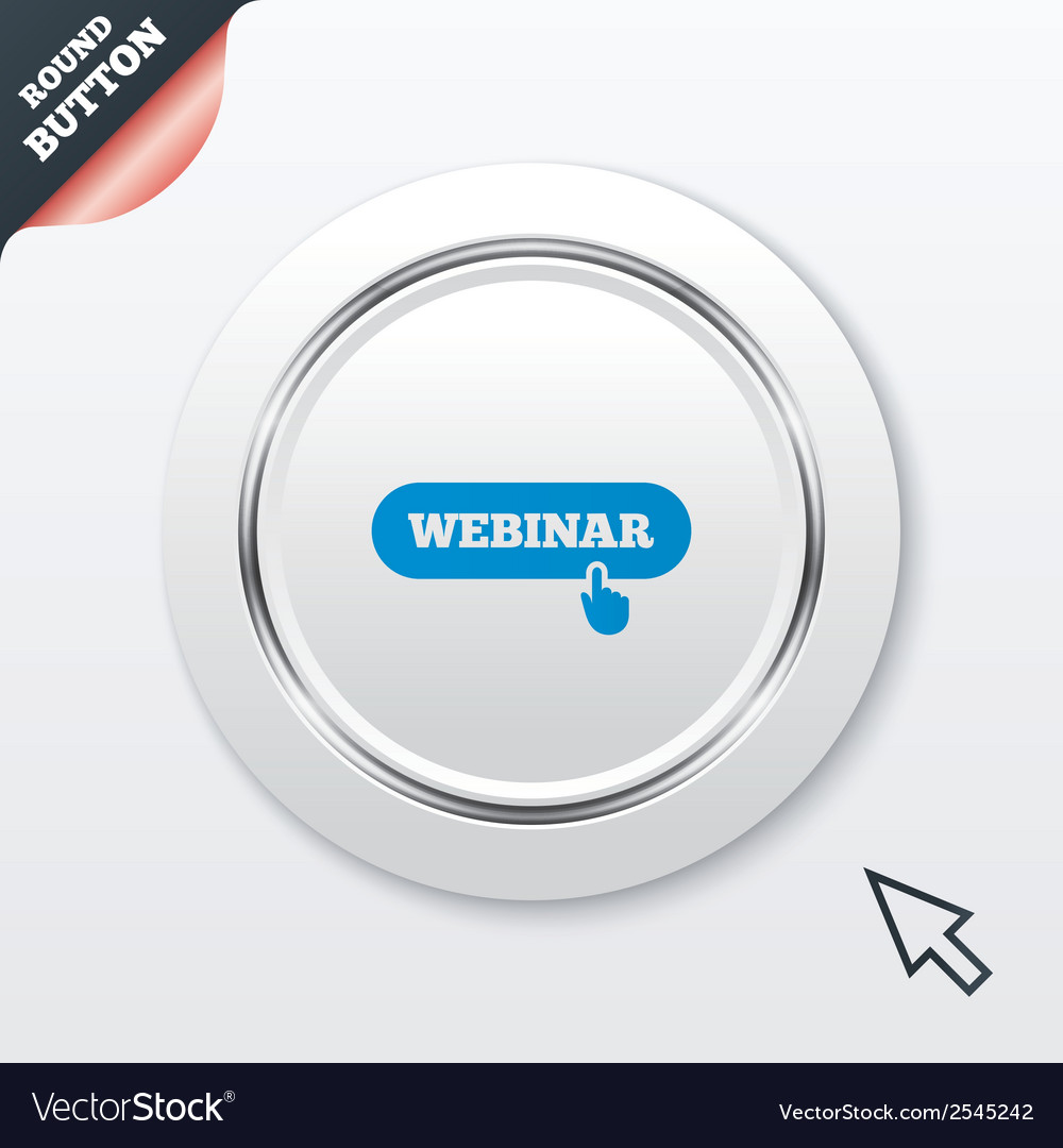 Webinar with hand pointer sign icon web study vector | Price: 1 Credit (USD $1)