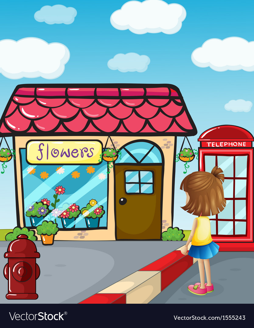 A small girl watching the flower shop vector | Price: 3 Credit (USD $3)