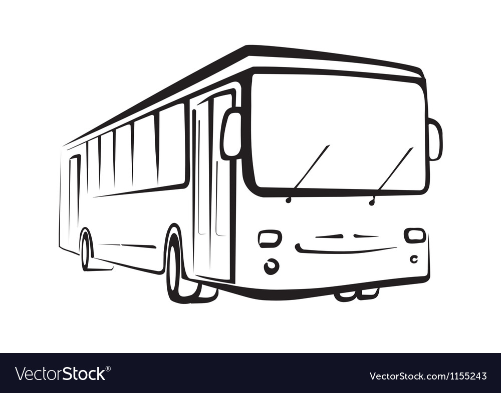 Bus sketch isolated oi black outlines vector | Price: 1 Credit (USD $1)