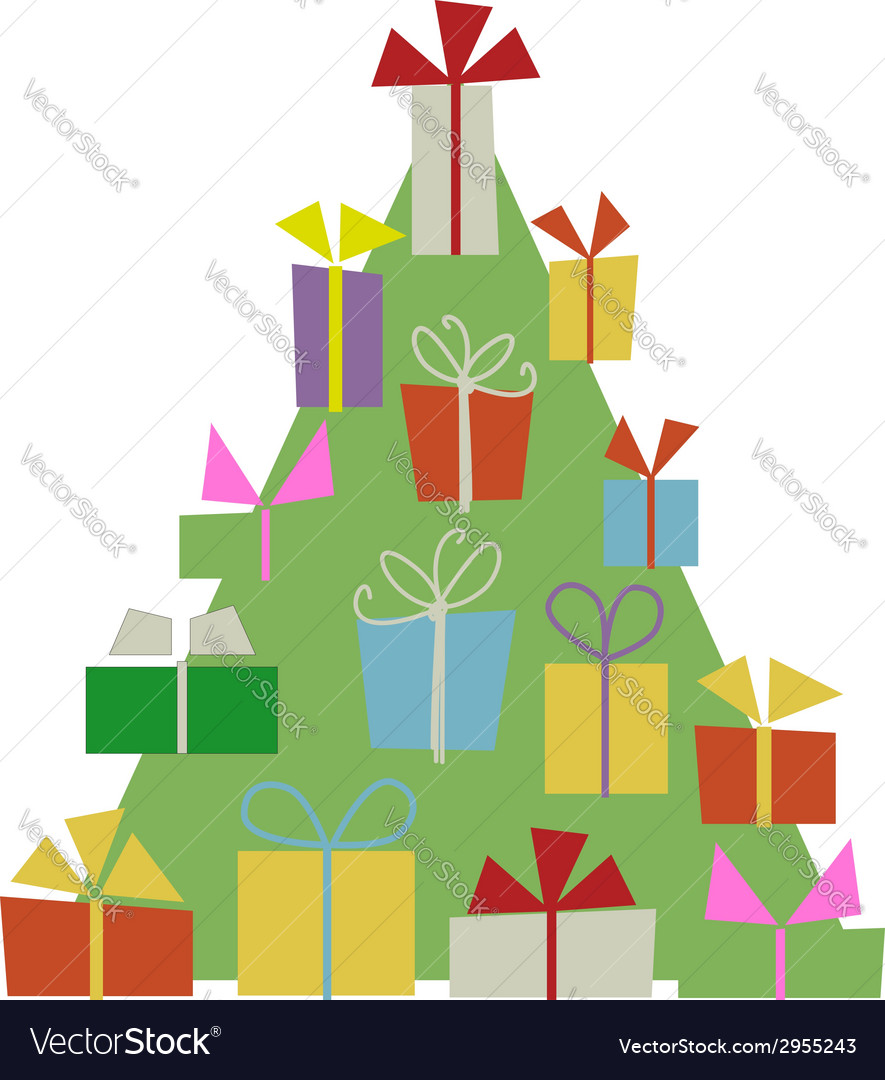 Christmas tree with gift boxes for your design vector | Price: 1 Credit (USD $1)
