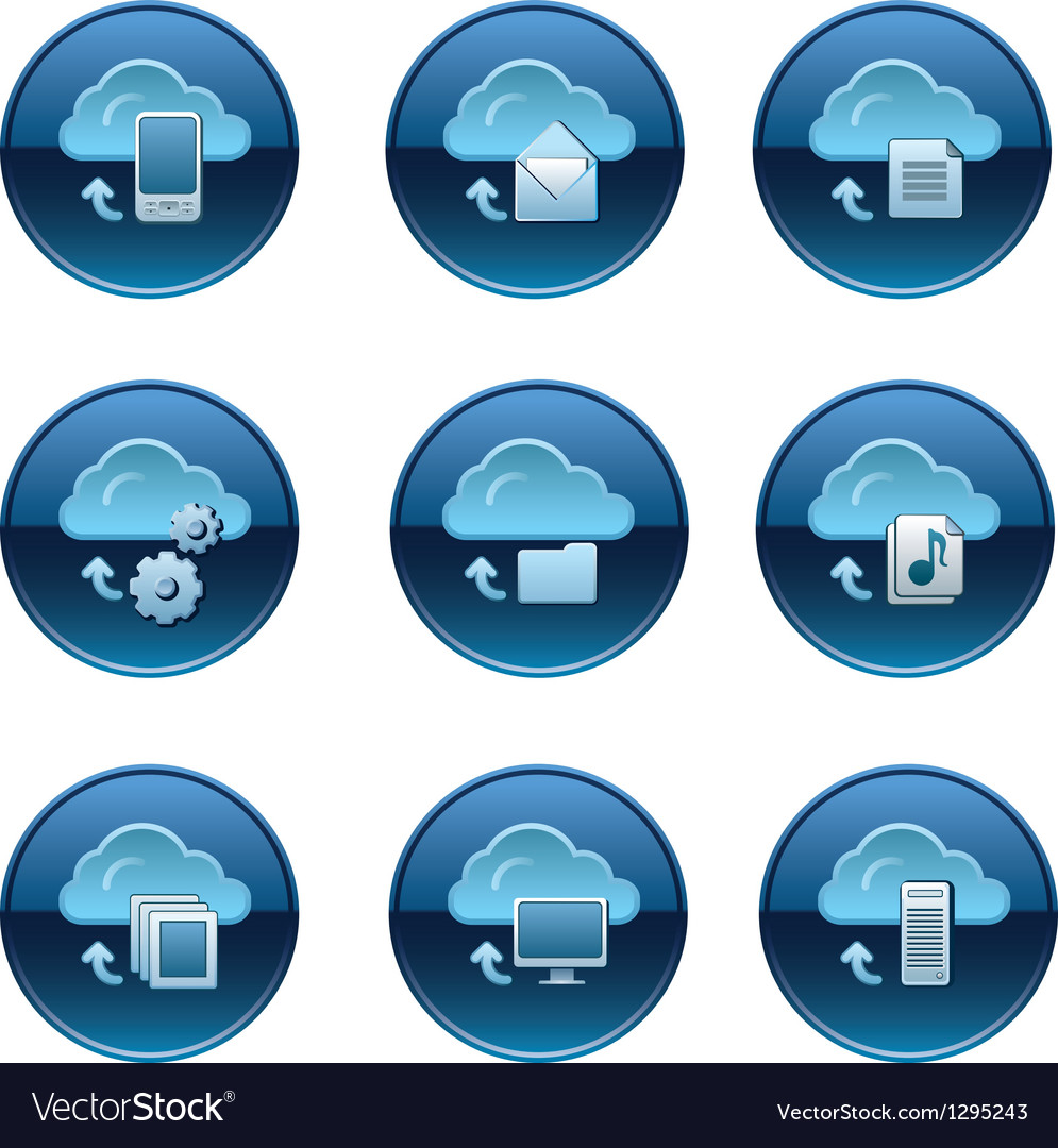 Cloud icon set vector | Price: 3 Credit (USD $3)