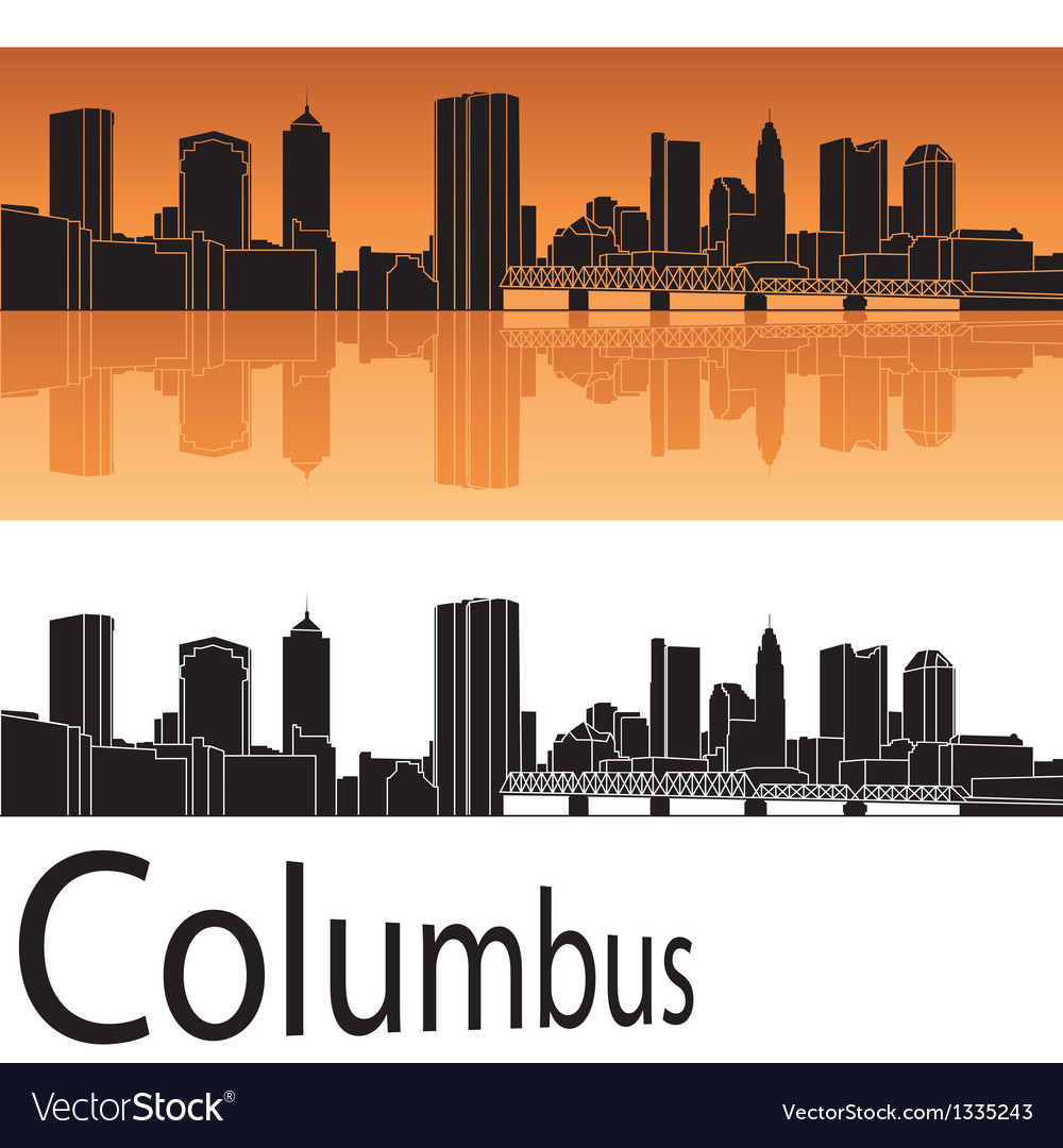 Columbus skyline in orange background vector | Price: 1 Credit (USD $1)