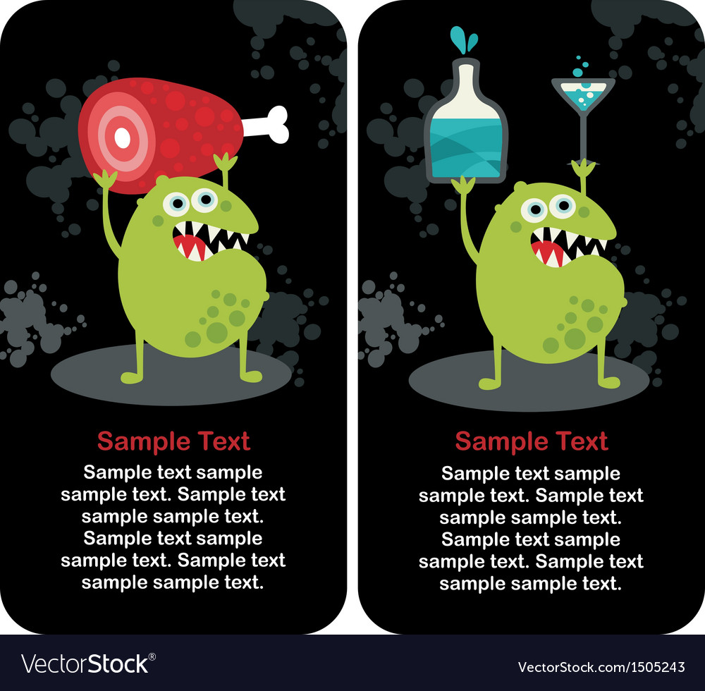 Cute monster microbe and meat with drink vector | Price: 3 Credit (USD $3)