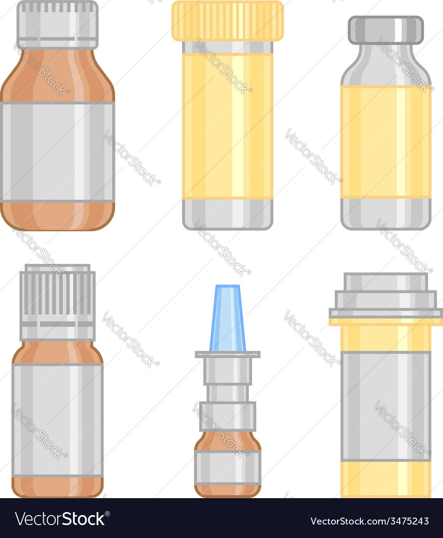 Drug bottle set colorful line icon vector | Price: 1 Credit (USD $1)