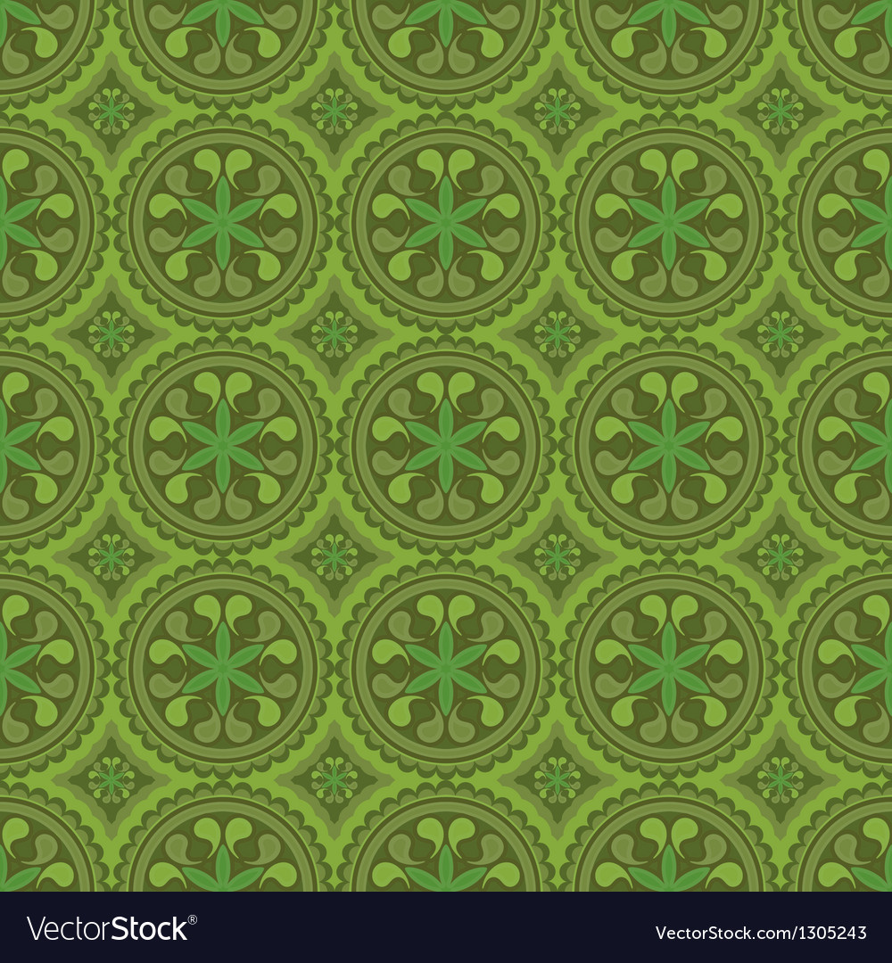 Green colors sarasa style pattern design vector | Price: 1 Credit (USD $1)