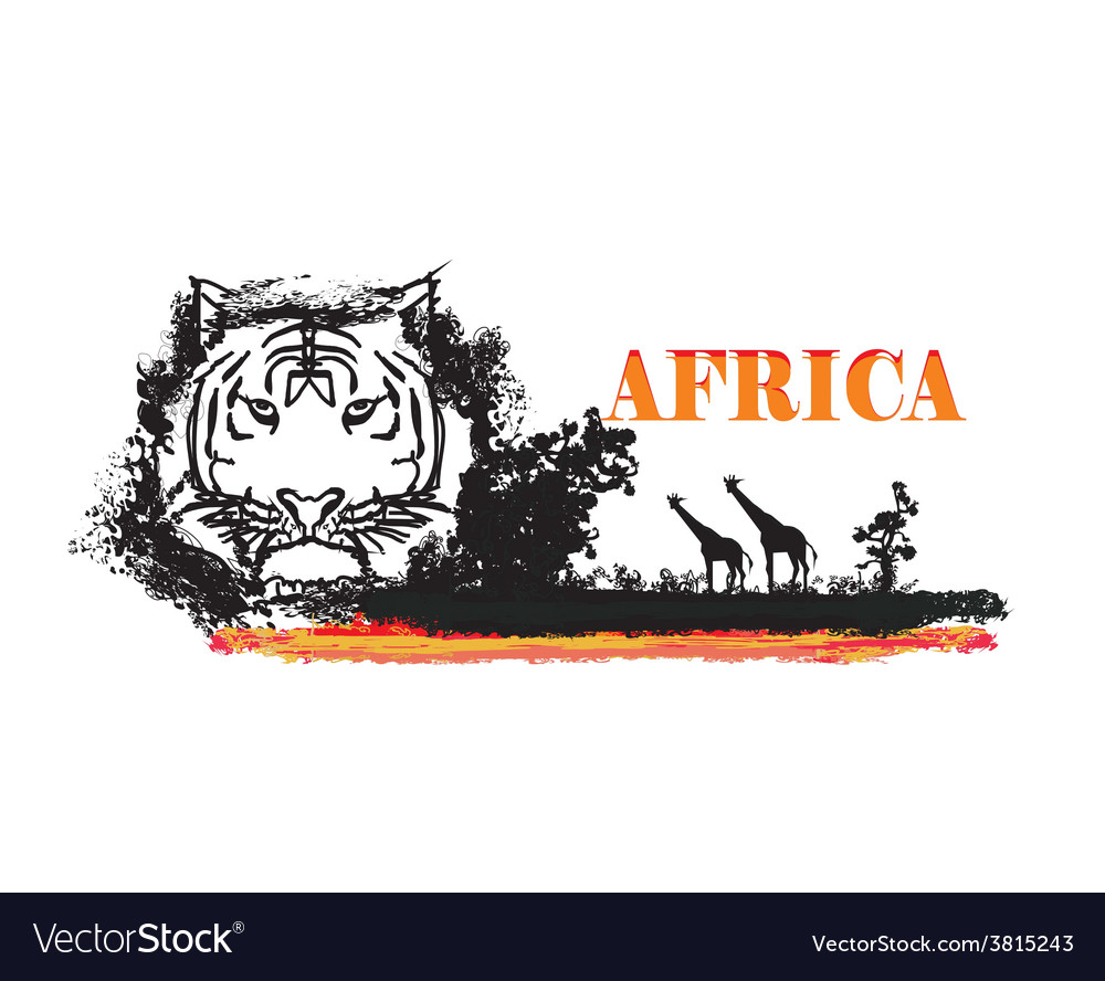 Grunge background with african fauna and flora vector | Price: 1 Credit (USD $1)