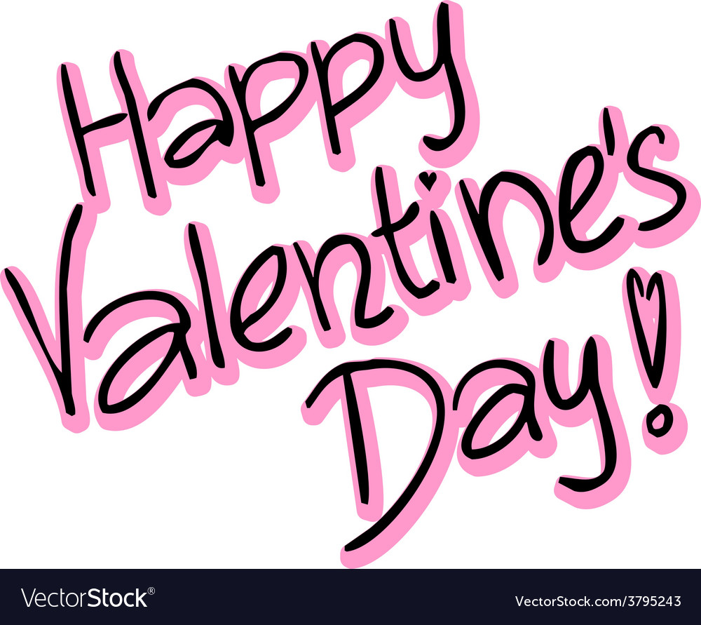 Happy valentines day - text vector | Price: 1 Credit (USD $1)