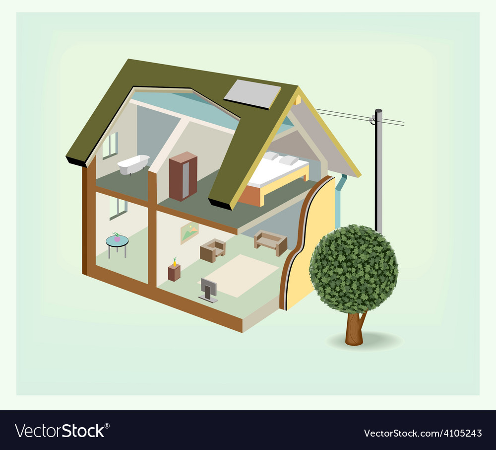 Isometric house cutaway icon vector | Price: 3 Credit (USD $3)