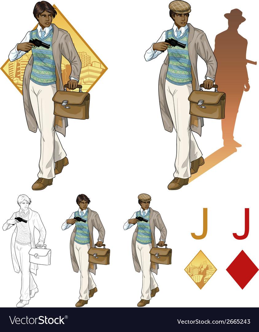 Jack of diamonds afroamerican boy with a gun mafia vector | Price: 3 Credit (USD $3)