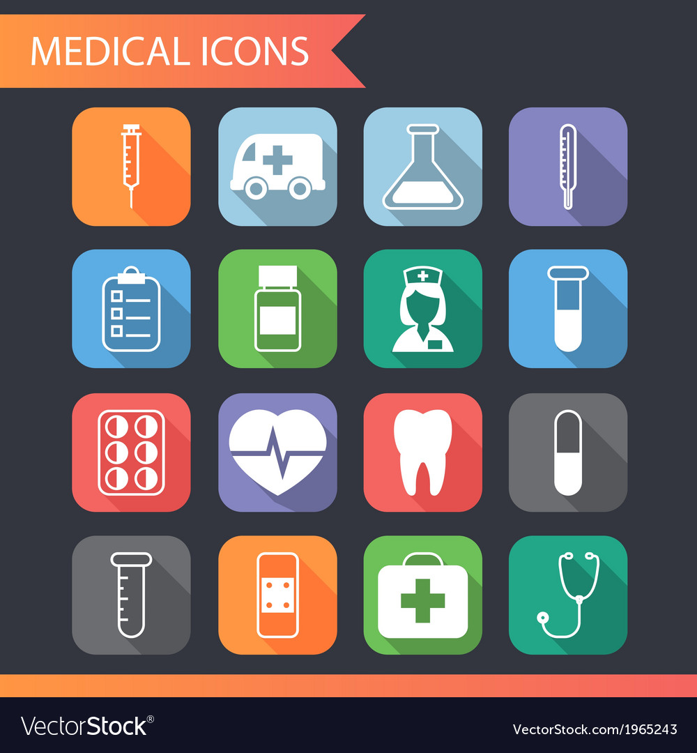 Retro flat medical icons and symbols set vector | Price: 1 Credit (USD $1)