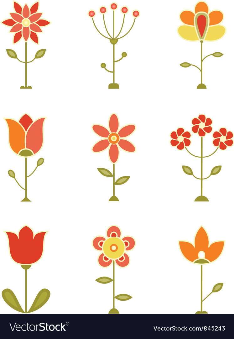 Retro flower set vector | Price: 1 Credit (USD $1)