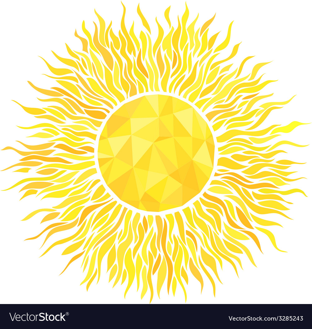 Sun with sunburst and geometric pattern vector | Price: 1 Credit (USD $1)