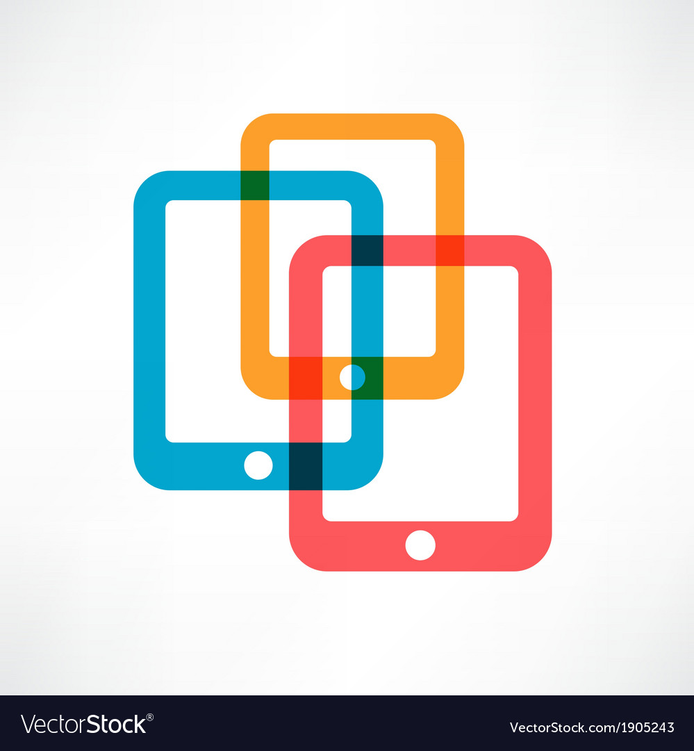 Three colored ipads vector | Price: 1 Credit (USD $1)