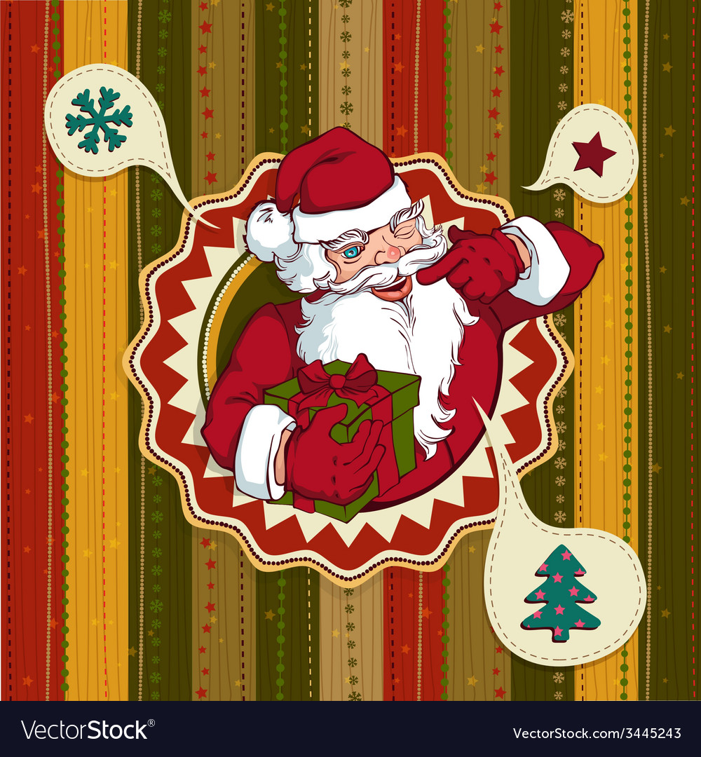 Vintage christmas card with santa claus vector | Price: 1 Credit (USD $1)