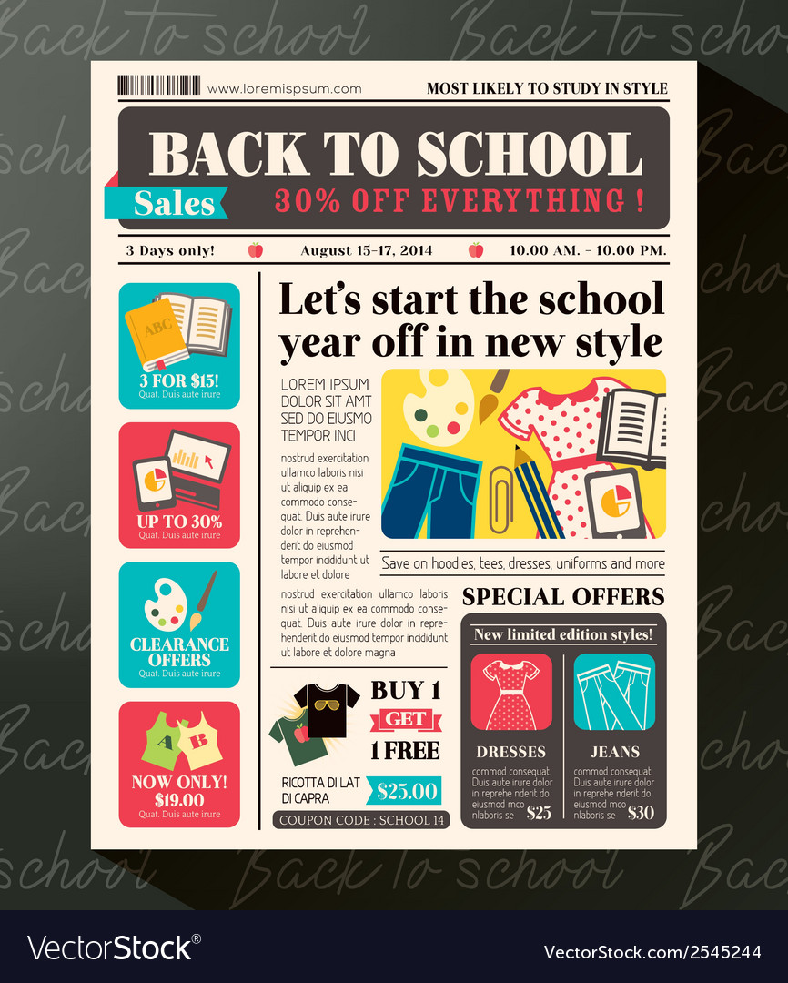 Back to school sales promotional design template vector | Price: 1 Credit (USD $1)