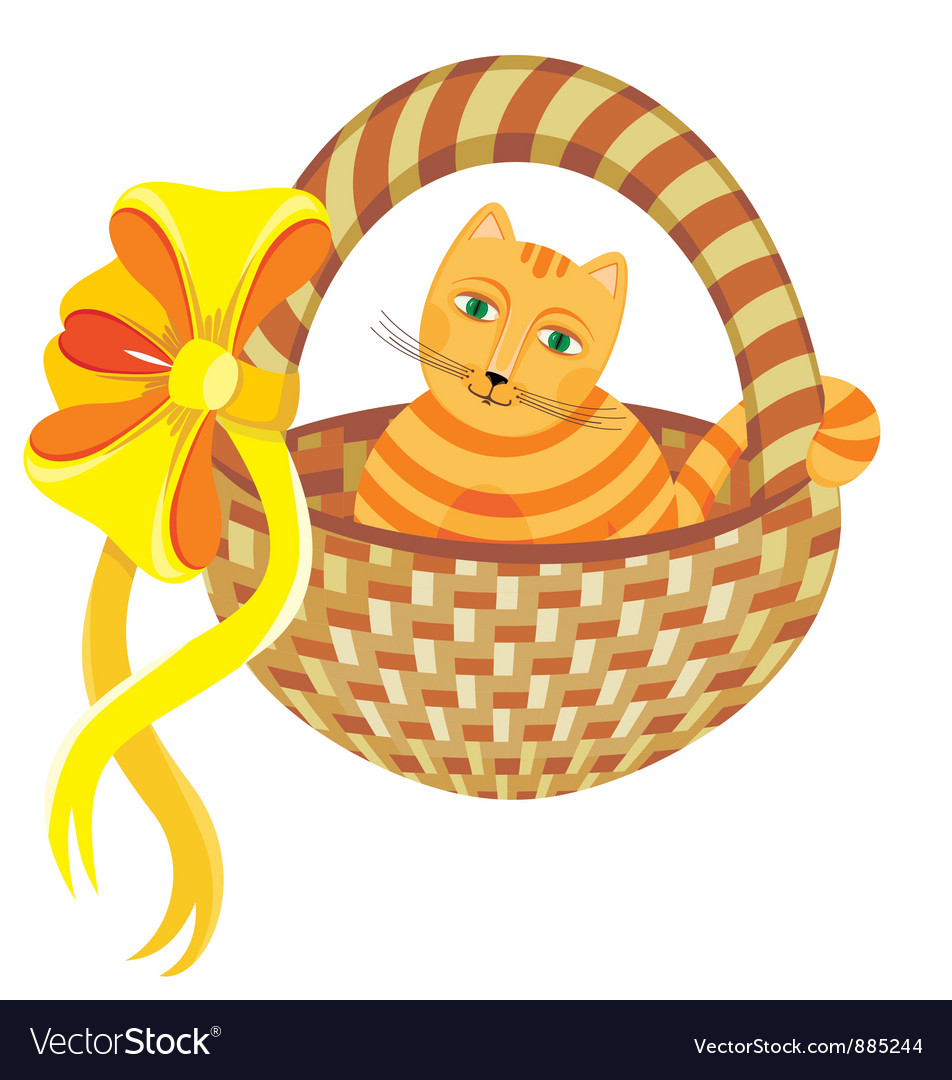 Cat in basket vector | Price: 1 Credit (USD $1)