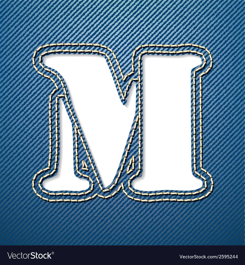 Denim jeans letter m vector | Price: 1 Credit (USD $1)