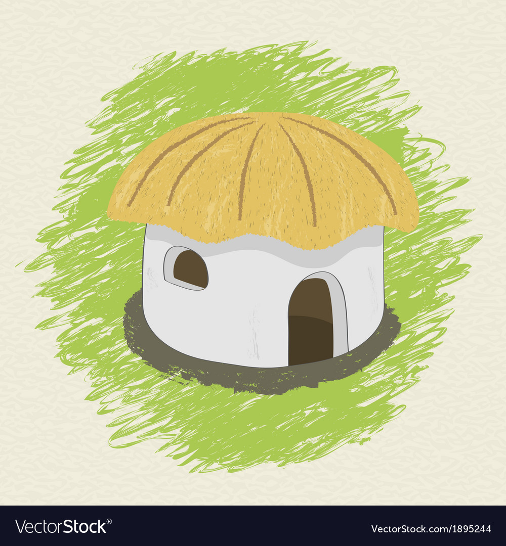 Drawing african hut on background vector | Price: 1 Credit (USD $1)