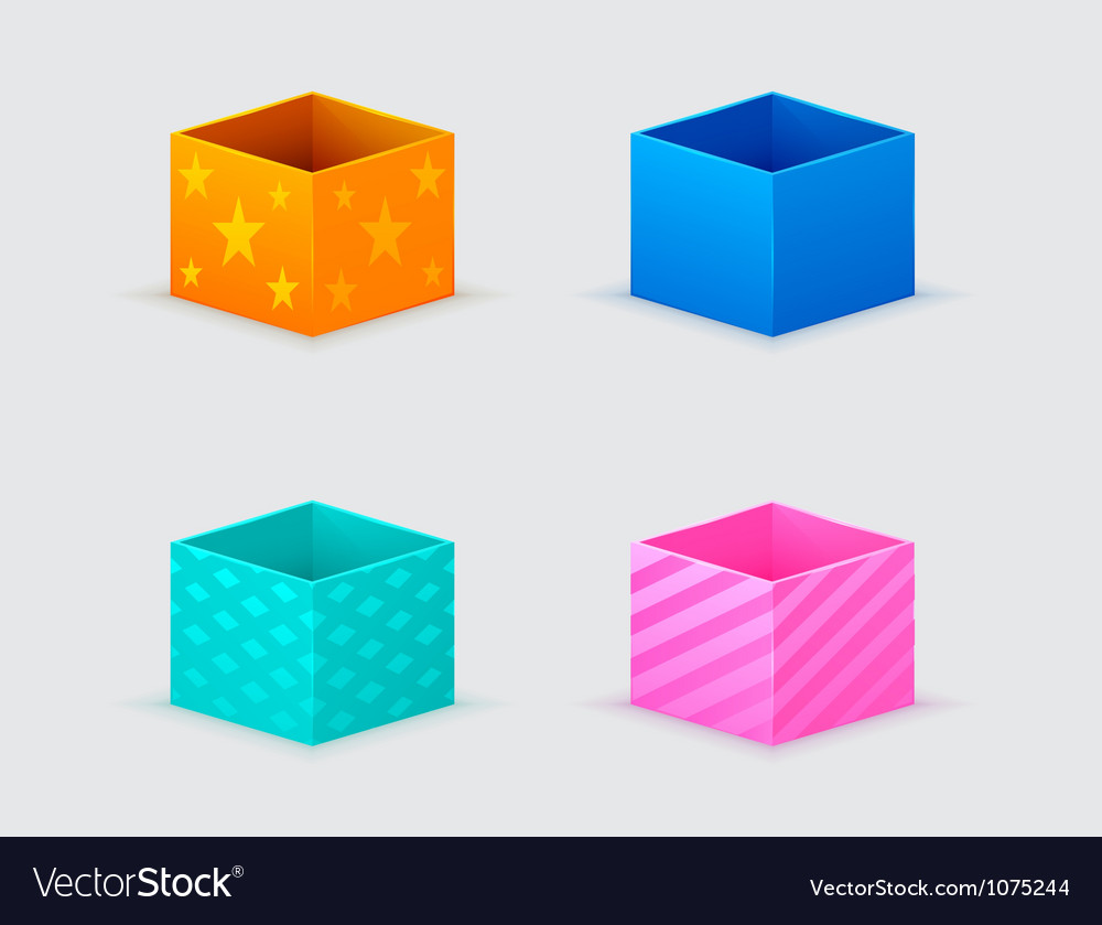 Four gift boxes of orange blue turquoise pink vector | Price: 1 Credit (USD $1)