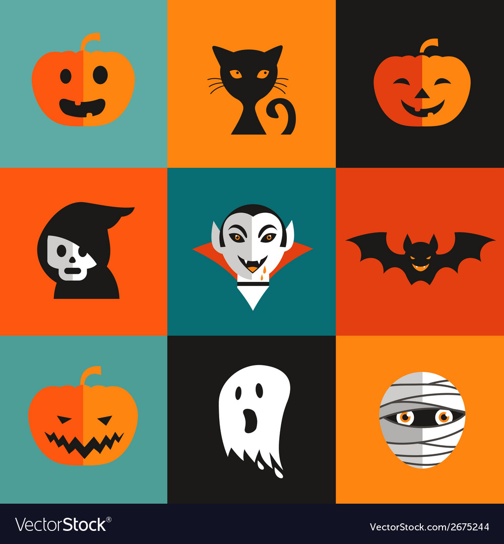 Halloween cute set of icons vector | Price: 1 Credit (USD $1)