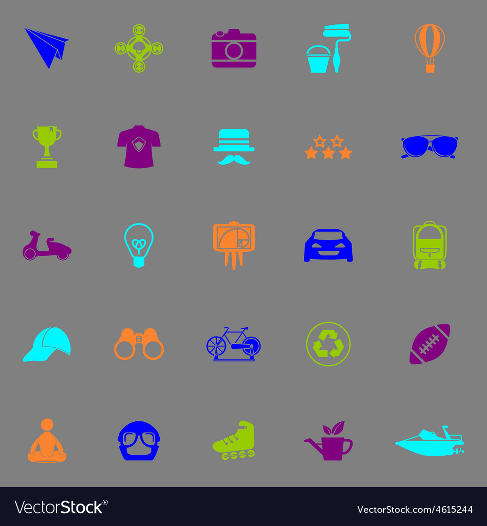 Hipster icons fluorescent color on gray background vector | Price: 1 Credit (USD $1)