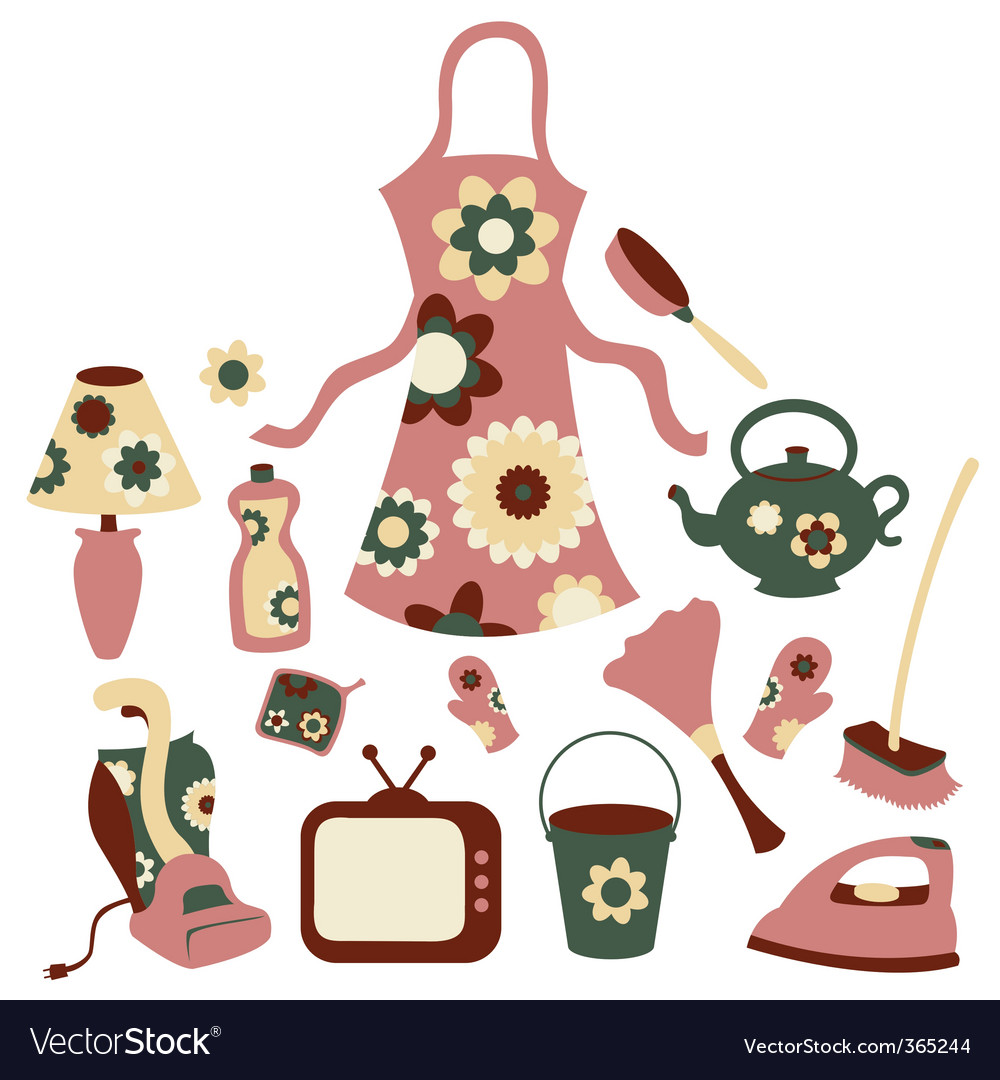 Housewife accessories icons vector | Price: 1 Credit (USD $1)