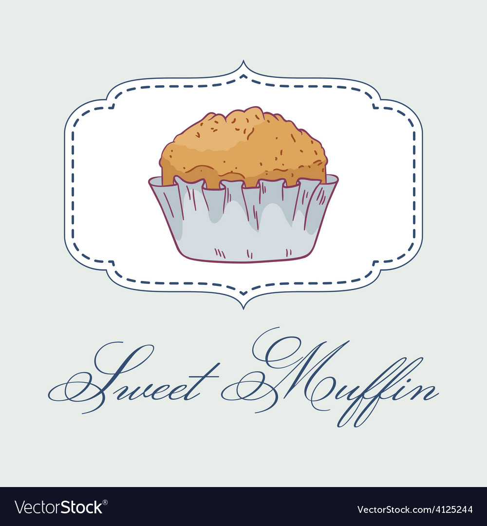 Pastry shop label with muffin vector   Price: 1 Credit (USD $1)