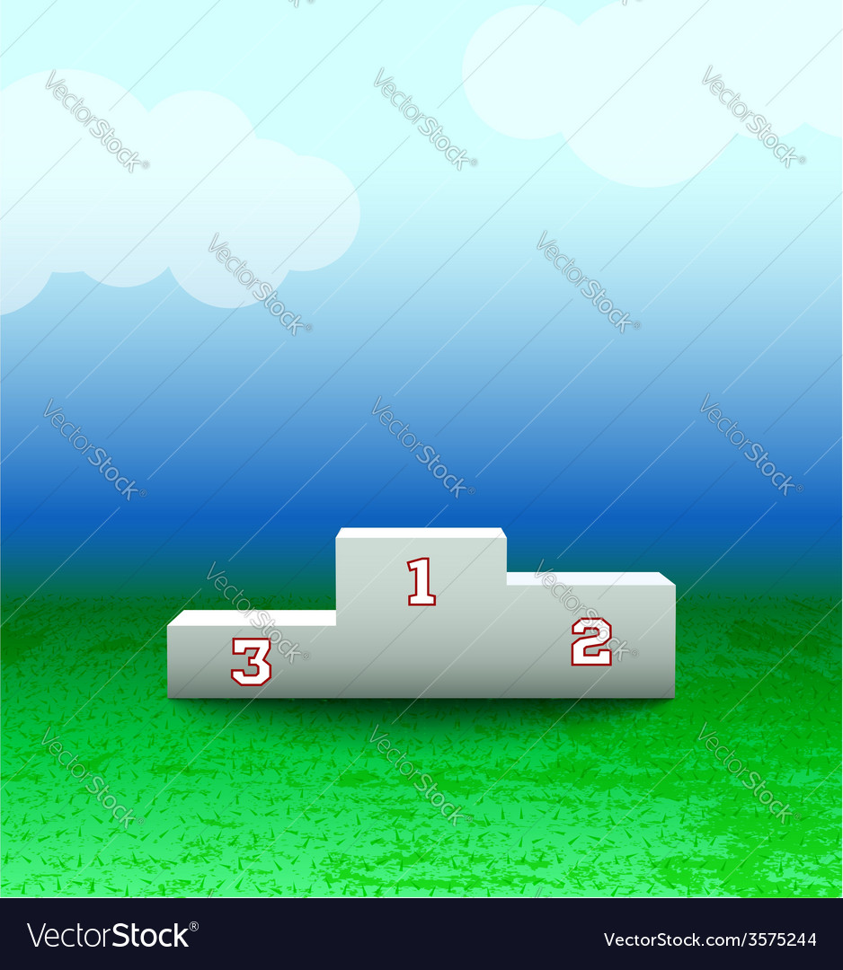 Podium with numbers on the field vector | Price: 1 Credit (USD $1)