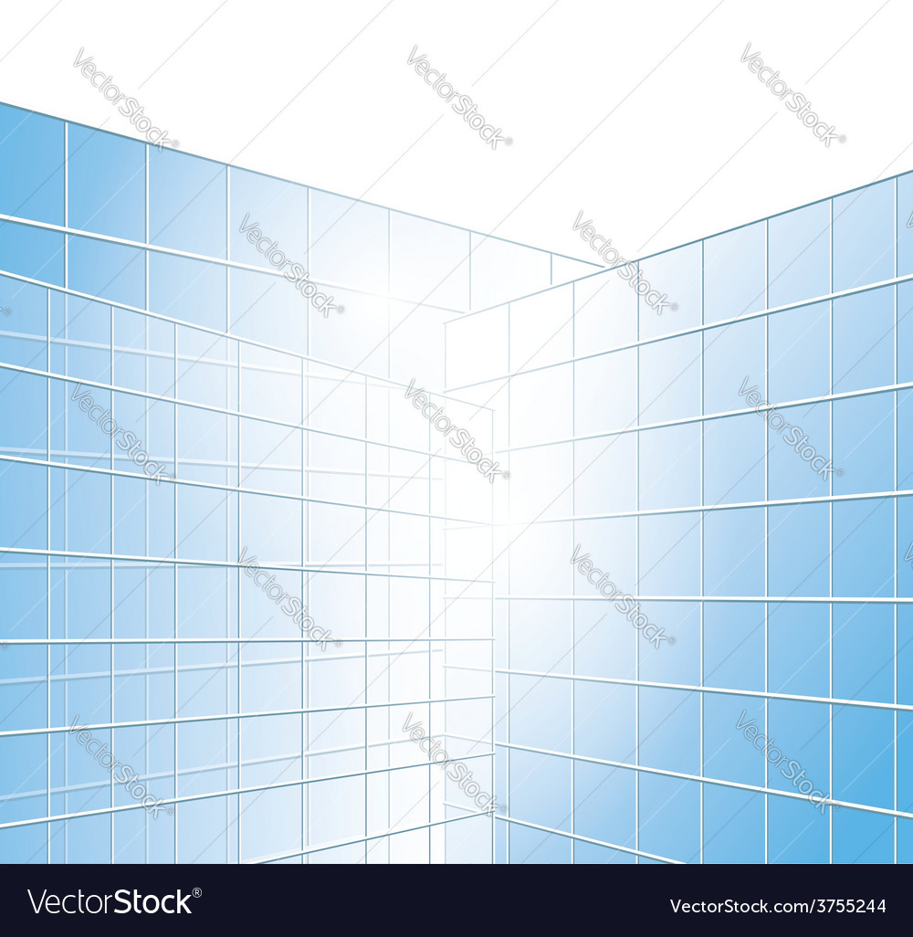 Wall of buildings - blue windows vector | Price: 1 Credit (USD $1)