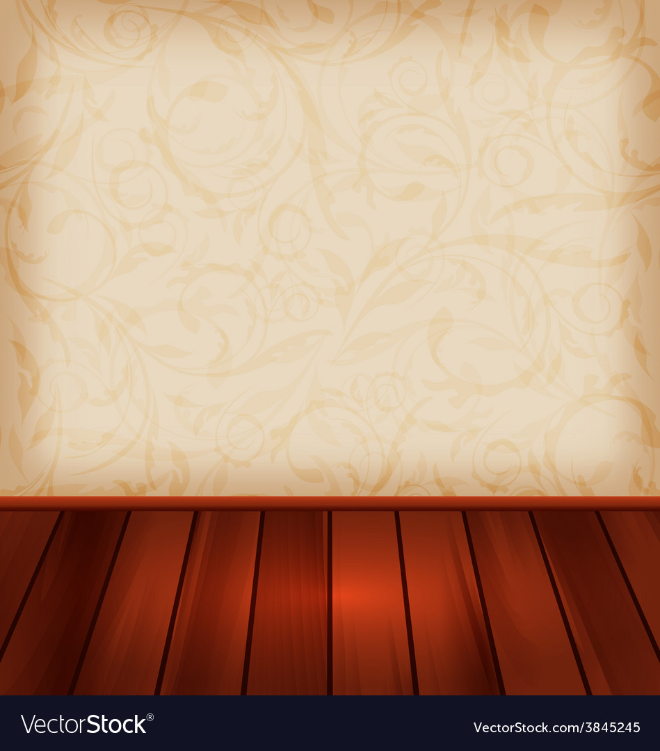 Floral wallpaper and wooden floor - vector | Price: 1 Credit (USD $1)