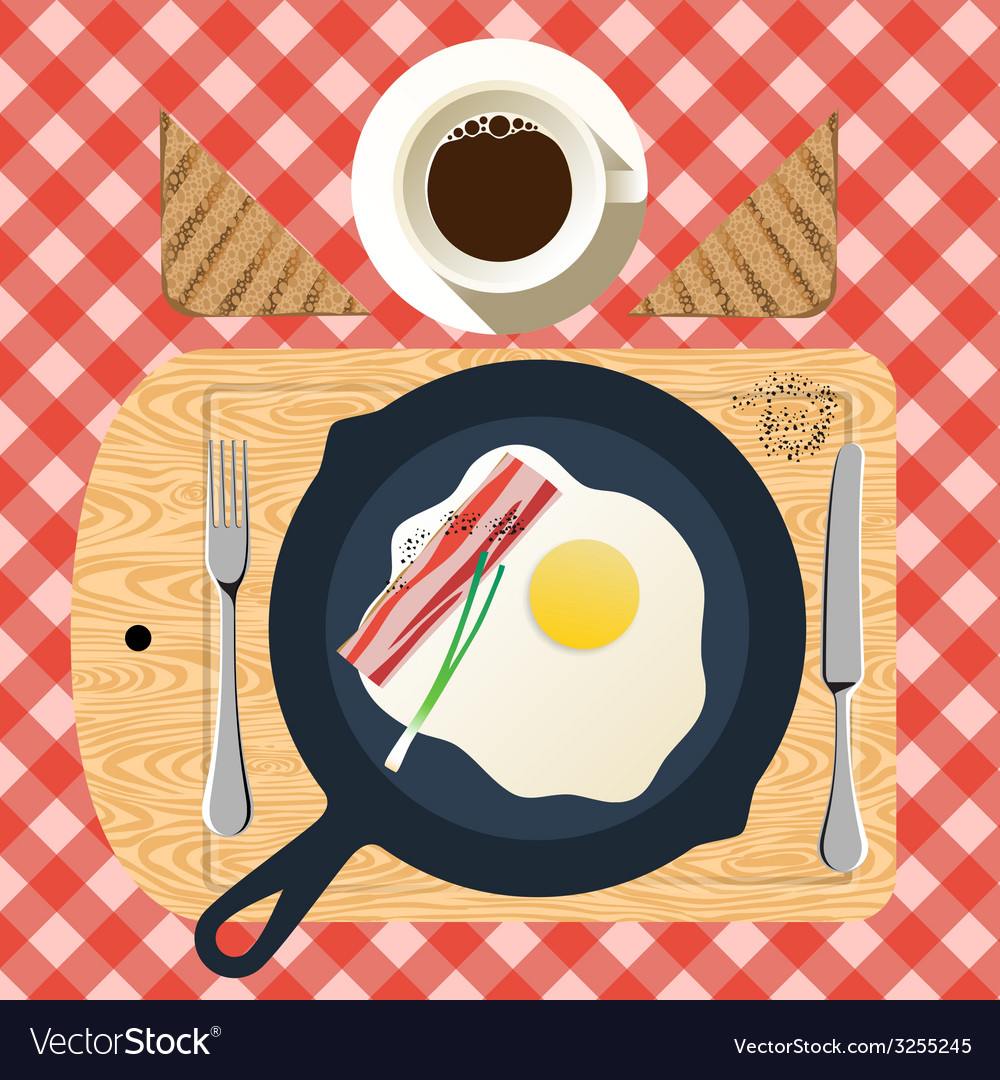 Frying pan of breakfast with fried eggs bacon vector   Price: 1 Credit (USD $1)