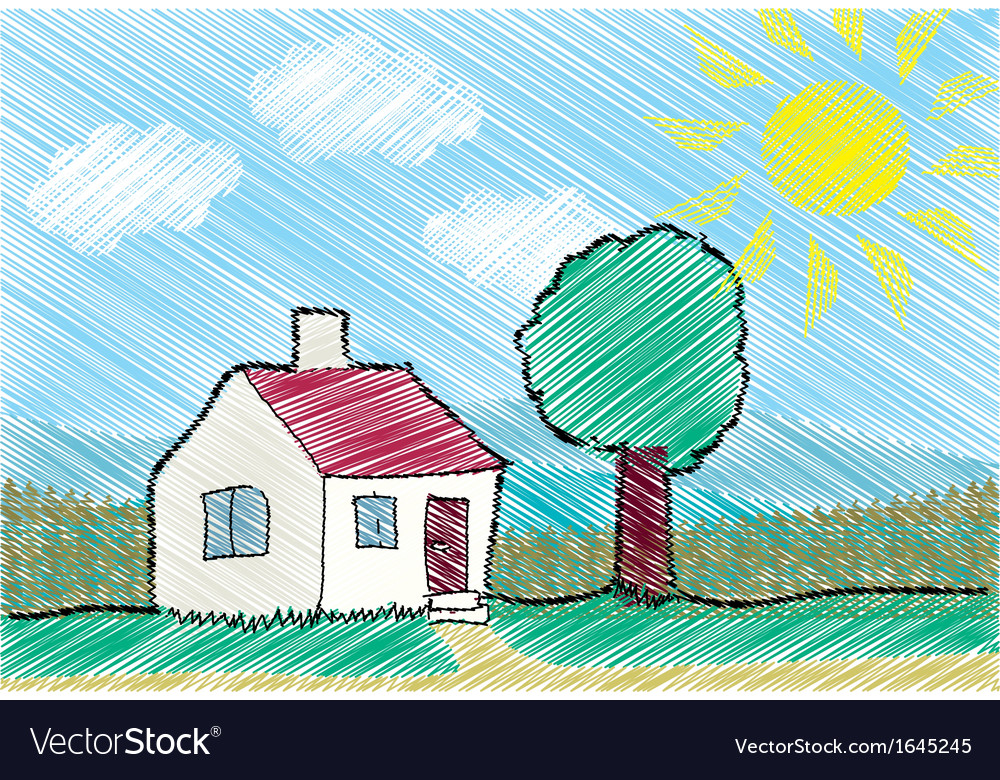 House with front yard vector   Price: 1 Credit (USD $1)