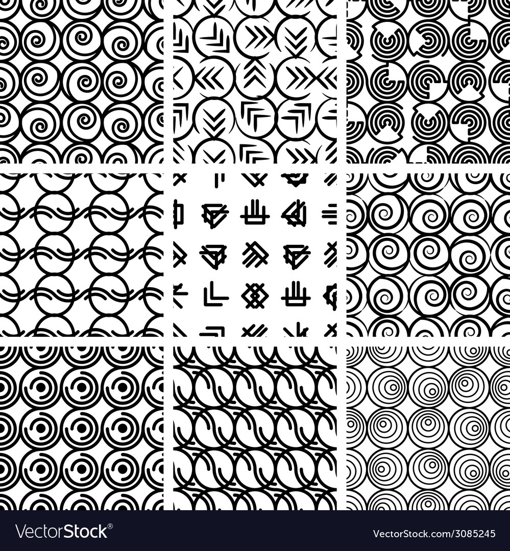 Seamless geometric patterns set 4 vector | Price: 1 Credit (USD $1)